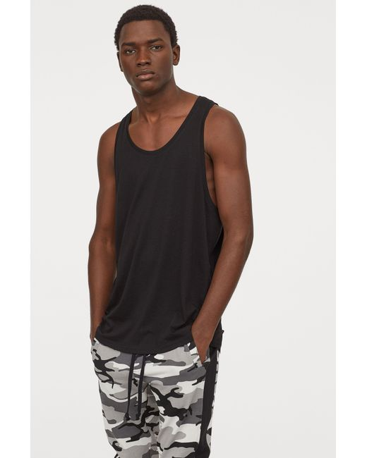 faf5182107bcb1 Lyst - H M Jersey Tank Top in Black for Men