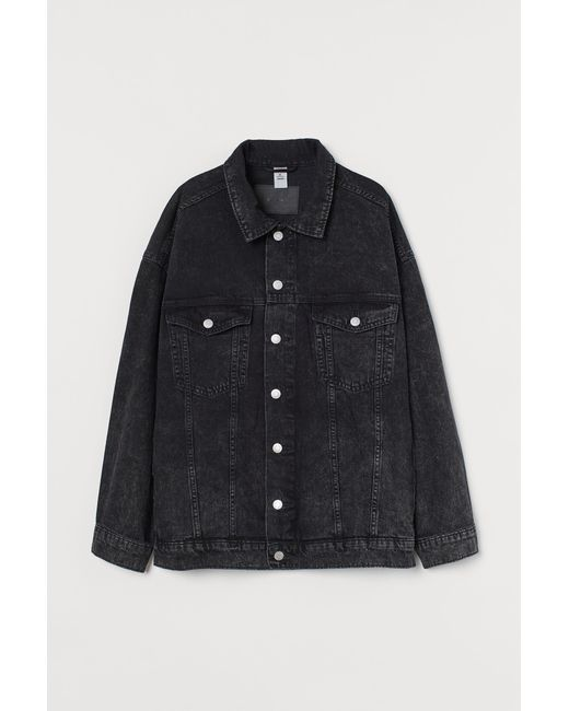 H&M Black H & M+ Oversized Jeansjacke