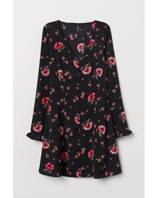 Robe à encolure en V H&M en coloris Black