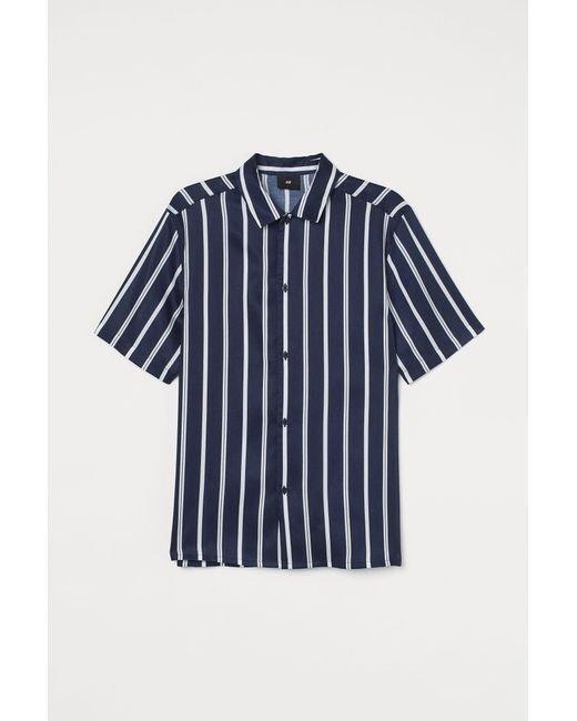 H&M Kurzarmhemd Regular Fit in Blue für Herren
