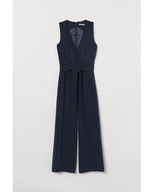 H&M Blue Jumpsuit mit Bindegürtel