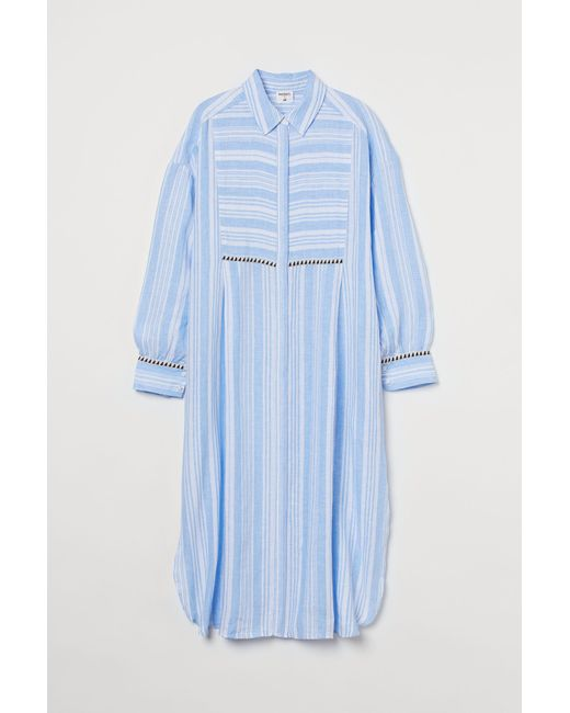 Robe chemise en lin H&M en coloris Blue