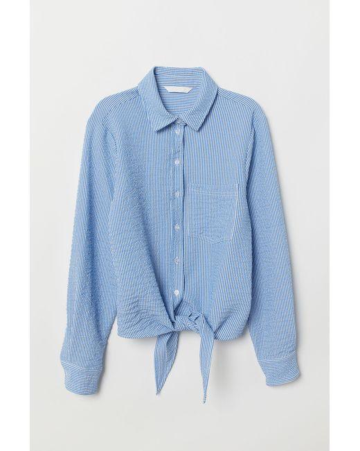 H&M Blue Tie-front Blouse