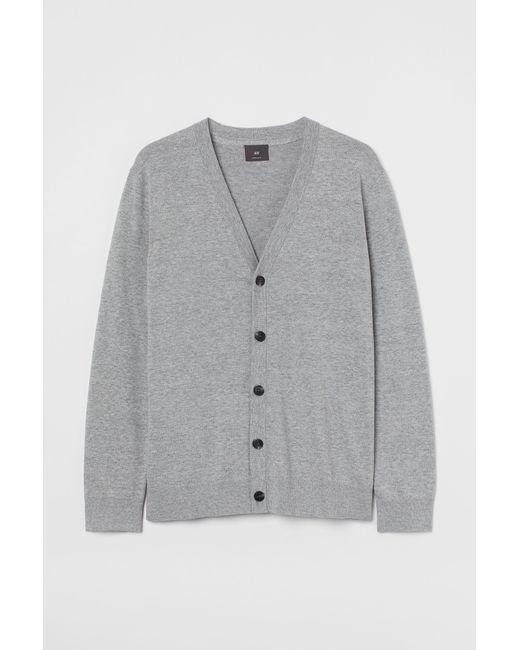 H&M Baumwollcardigan in Gray für Herren