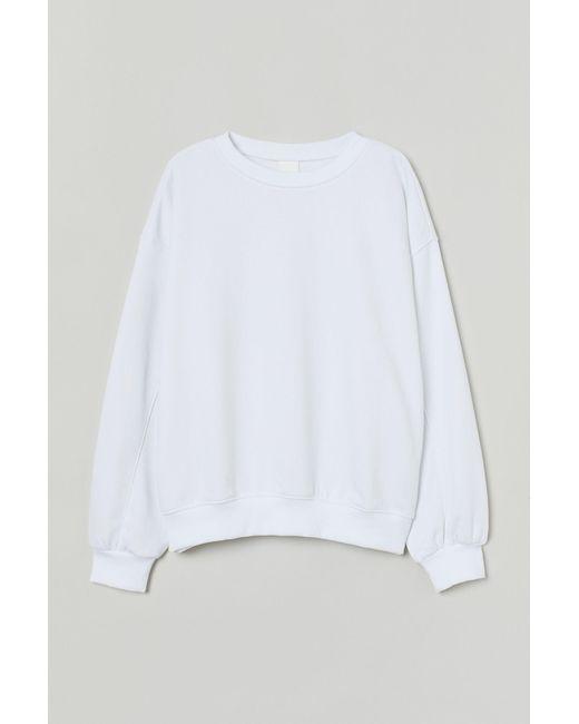 H&M White Sweatshirt aus Baumwollmix