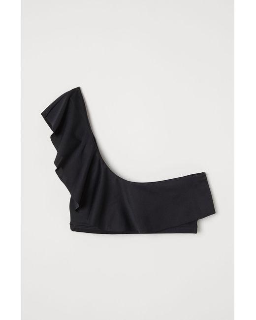 949fd9f079b67 H M One-shoulder Bikini Top in Black - Lyst