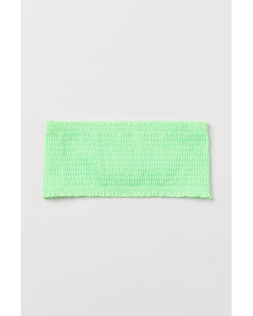 H&M Green Gesmoktes Bandeau-Bikinitop