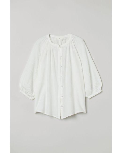 H&M White Crinkled Blouse