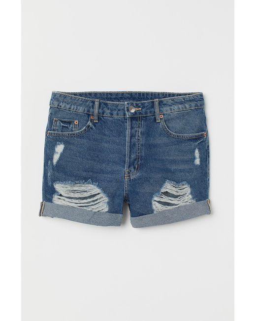 H&M Blue Denim Shorts Boyfriend