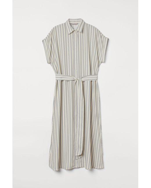 Robe chemise avec ceinture H&M en coloris Natural