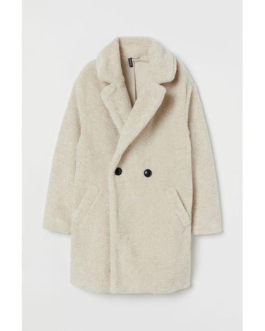 H&M Natural Faux-fur-Jacke