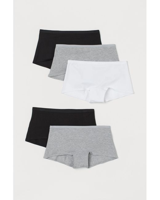 H&M Gray 5er-Pack Slips Shortie
