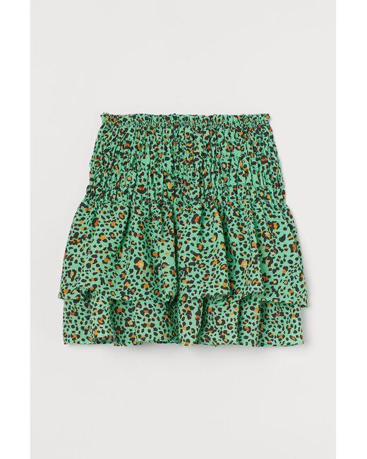 Jupe volantée à motif H&M en coloris Green