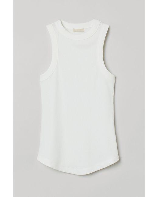 H&M White Ribbed Vest Top