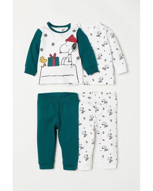 H&M - Green 2-pack Jersey Pyjamas - Lyst