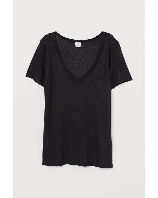 H&M Black Luftiges T-Shirt