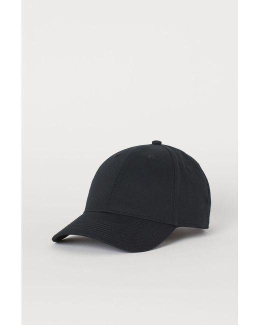 H&M Cap aus Baumwolltwill in Black für Herren