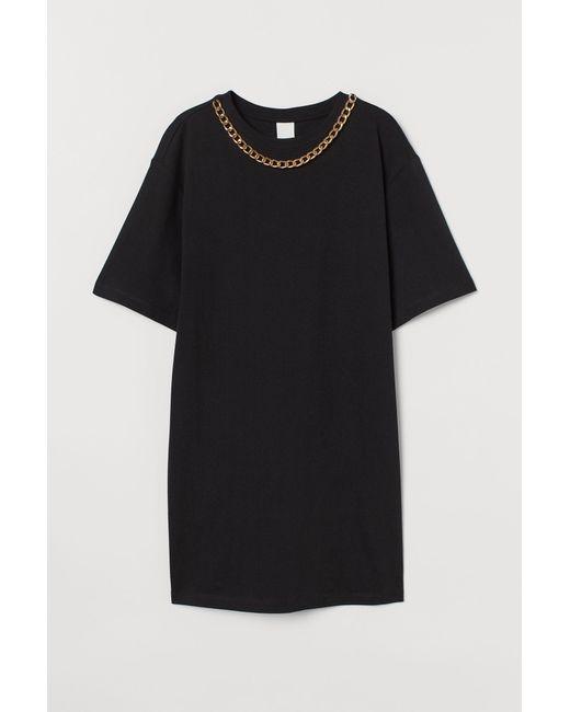 H&M Black T-Shirt-Kleid