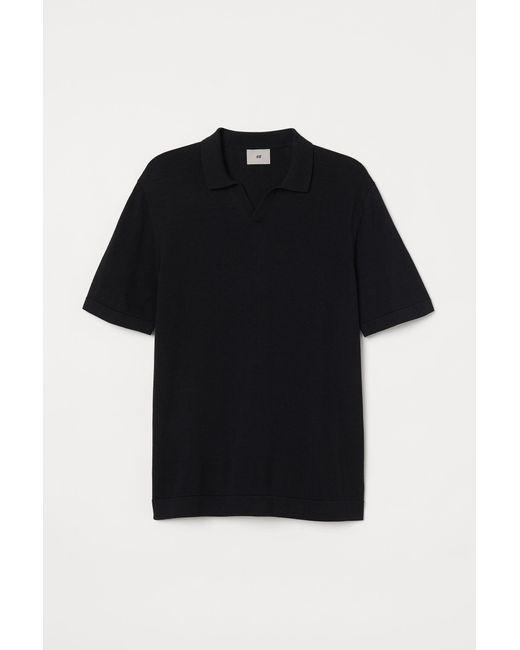 H&M Black Fine-knit Collared Top for men