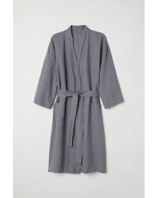 H&M - Gray Washed Linen Dressing Gown - Lyst
