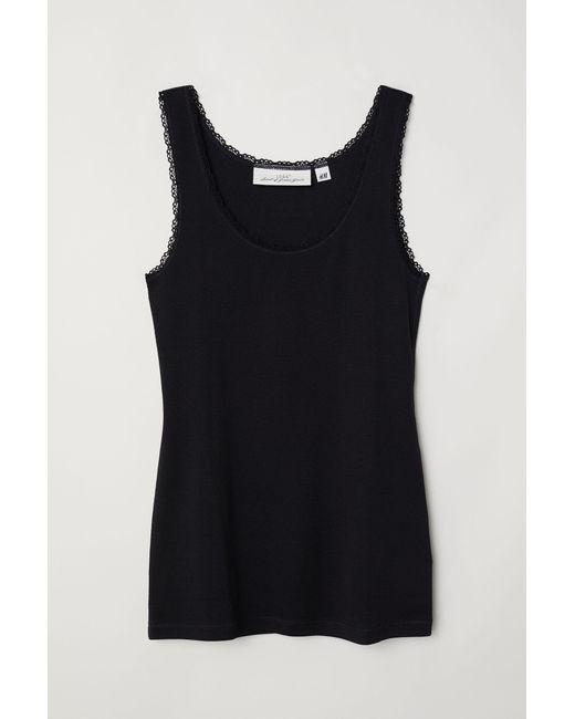 H&M Black Lace-trimmed Tank Top
