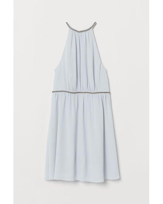 H&M Blue Kleid mit Perlenstickerei