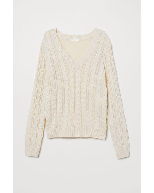 H&M - Natural V-neck Sweater - Lyst