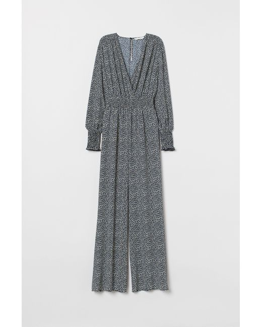 H&M Blue Jumpsuit With Smocking