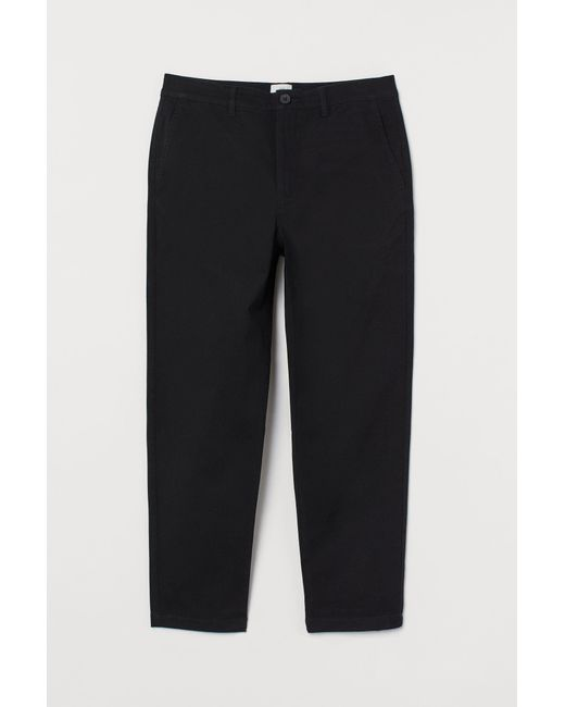 H&M Cropped Chino Slim Fit in Black für Herren