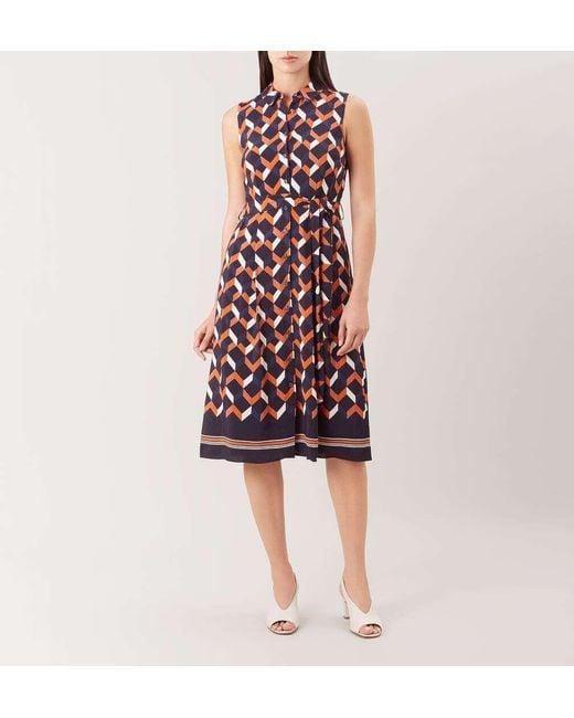 Hobbs Synthetic Suzanna Geometric Print Shirt Dress - Save