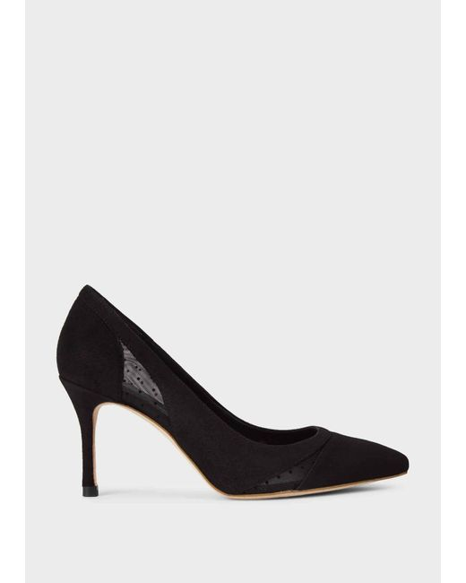Hobbs Black Layla Leather Court Shoes
