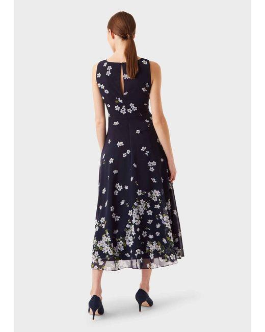 Hobbs Blue Carly Floral Midi Dress