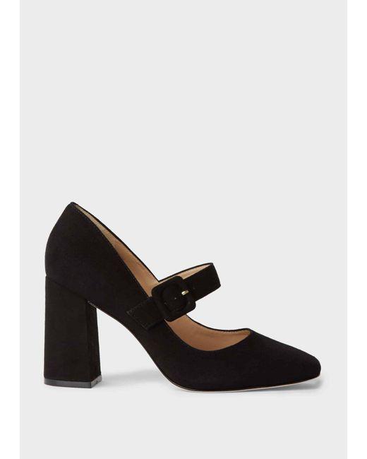 Hobbs Black Darcie Suede Block Heel Court Shoes