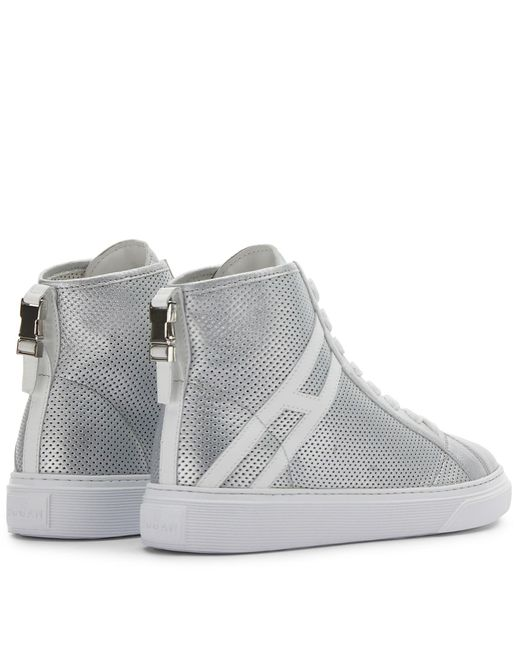 Hogan Metallic Hi-top H365, Silver, 35 - Shoes