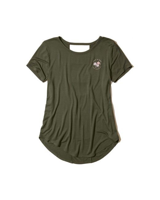 Hollister   Green Cutout Back Graphic Tee   Lyst