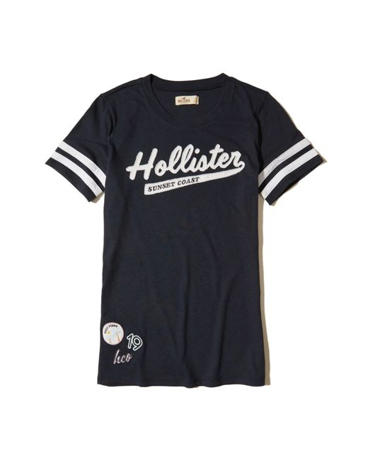Hollister | Blue Applique Logo Graphic Tee | Lyst