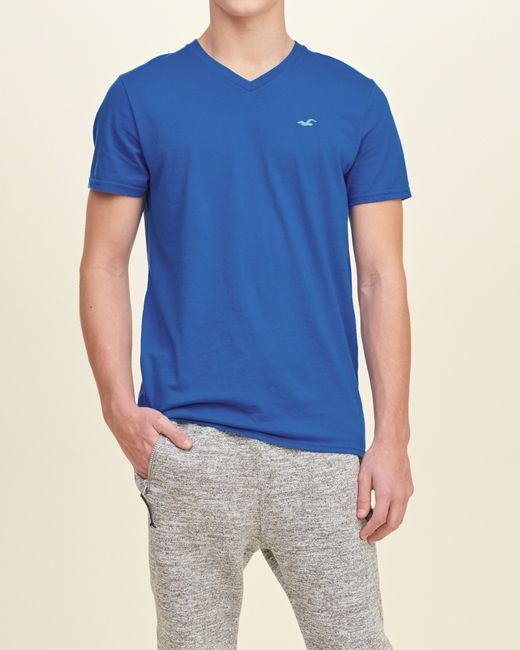 Hollister must have v neck t shirt in blue for men save for Must have dress shirts