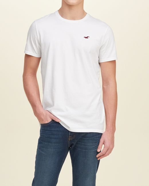 Hollister must have crew t shirt in white for men lyst for Must have dress shirts