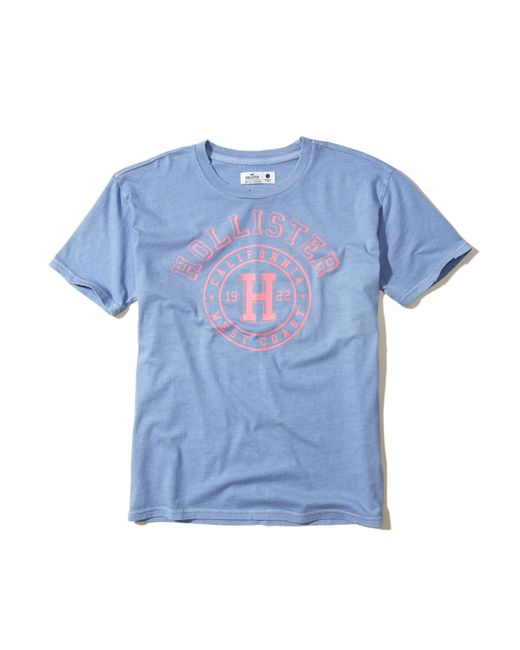 Hollister | Blue Crew Graphic Tee | Lyst