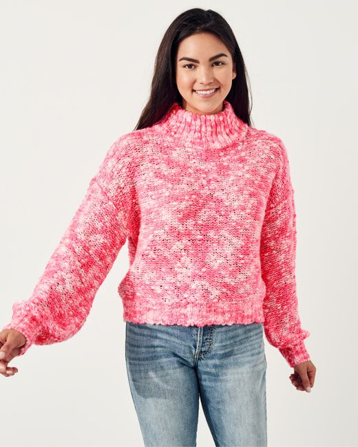 Hollister Chunky Turtleneck Sweater in Pink | Lyst