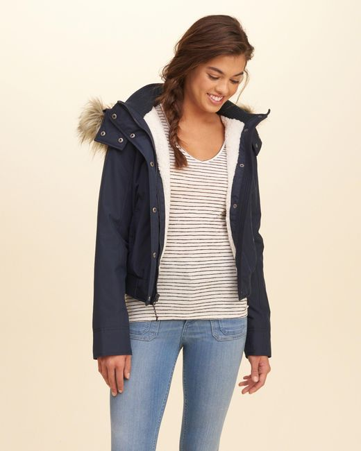 hollister all weather sherpa lined bomber jacket in blue. Black Bedroom Furniture Sets. Home Design Ideas