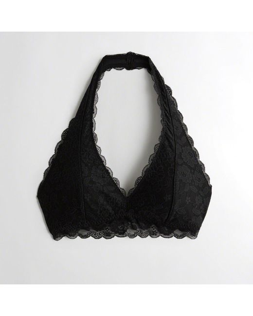 5ee1fc64d86 Hollister - Black Girls Lace Halter Bralette With Removable Pads From  Hollister - Lyst