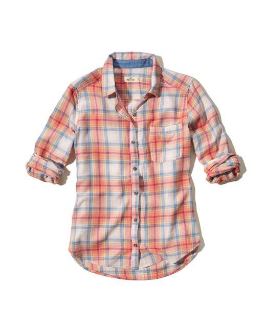 Hollister Easy Plaid Shirt In Orange Lyst