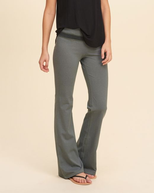 Hollister Foldover Jersey Yoga Pants in Gray (GREY) | Lyst