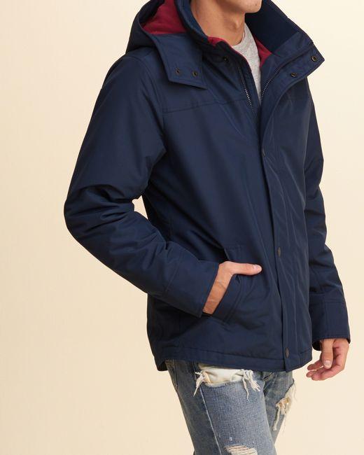 Hollister All-weather Fleece Lined Jacket in Blue for Men | Lyst