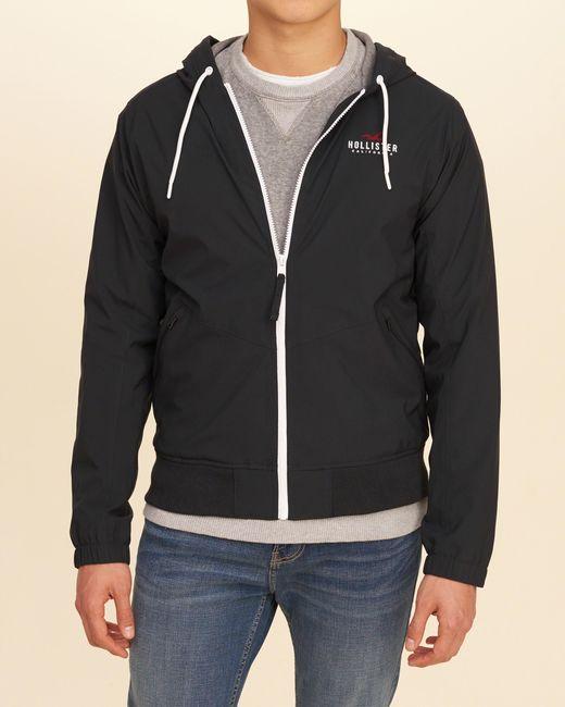Hollister Jersey Lined Nylon Windbreaker in Black for Men | Lyst