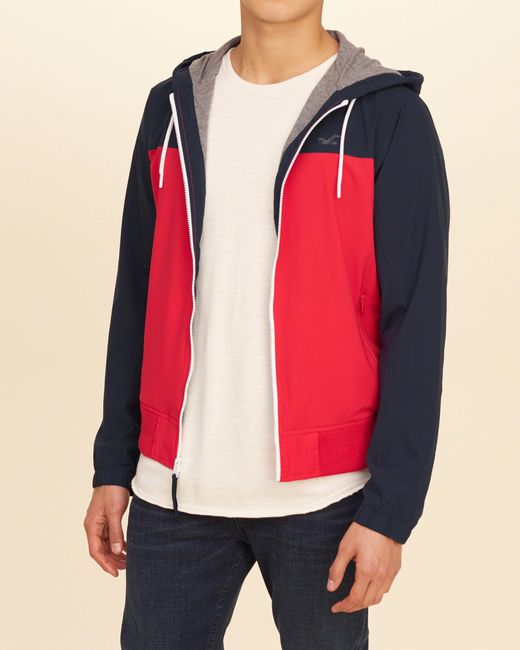 Hollister Jersey Lined Nylon Windbreaker in Red for Men | Lyst