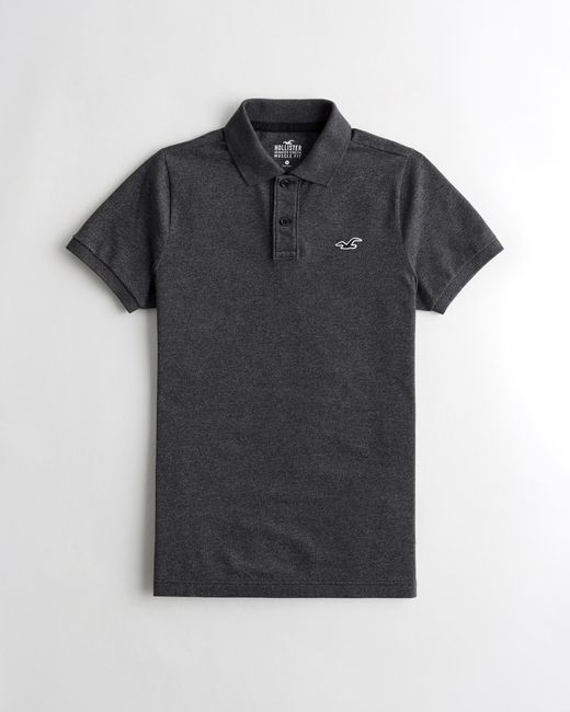 Hollister Gray Stretch Muscle Fit Polo for men