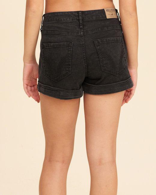 Hollister High-rise Denim Boyfriend Shorts in Black | Lyst