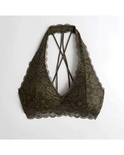 d3c639b852 Hollister - Green Girls Strappy Halter Bralette With Removable Pads From  Hollister - Lyst